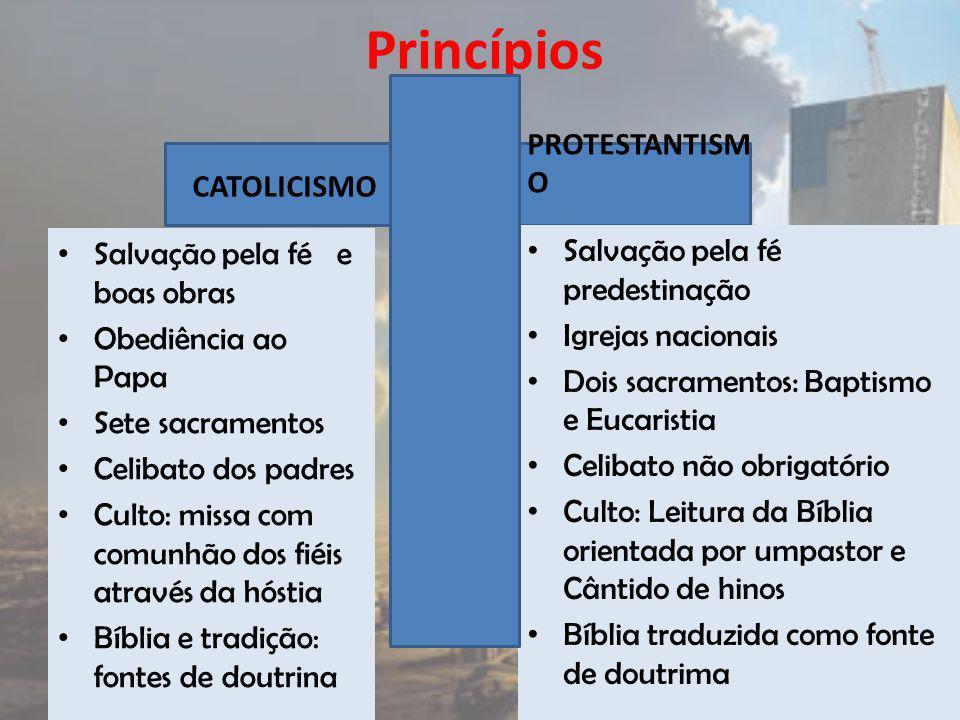 Princípios PROTESTANTISMO CATOLICISMO Salvação pela fé predestinação