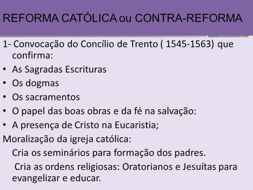 REFORMA CATÓLICA ou CONTRA-REFORMA