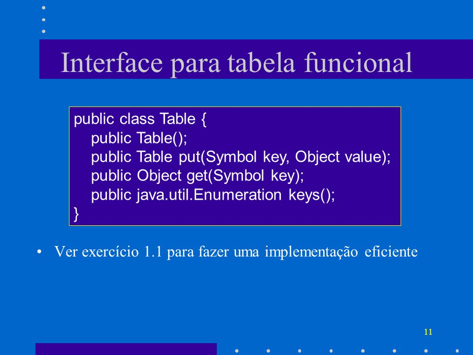 Interface para tabela funcional