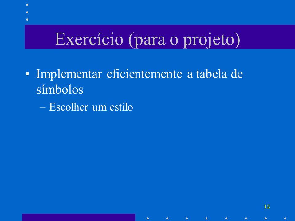 Exercício (para o projeto)