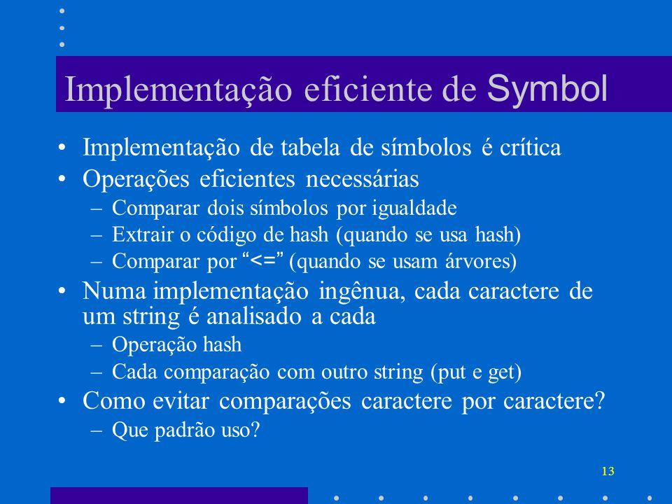 Implementação eficiente de Symbol