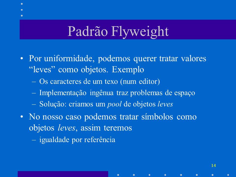 Padrão Flyweight Por uniformidade, podemos querer tratar valores leves como objetos. Exemplo. Os caracteres de um texo (num editor)