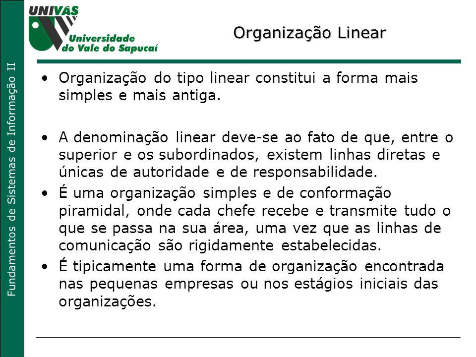 Organização Linear Organização do tipo linear constitui a forma mais simples e mais antiga.