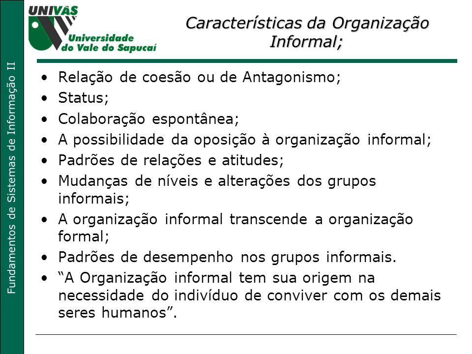 Características da Organização Informal;