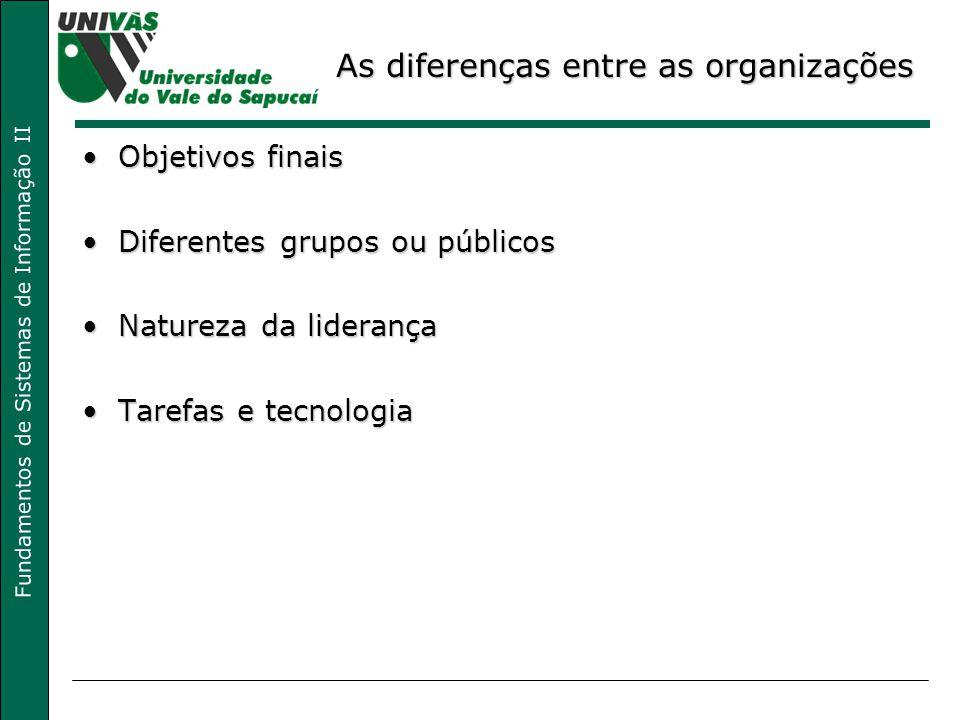 As diferenças entre as organizações
