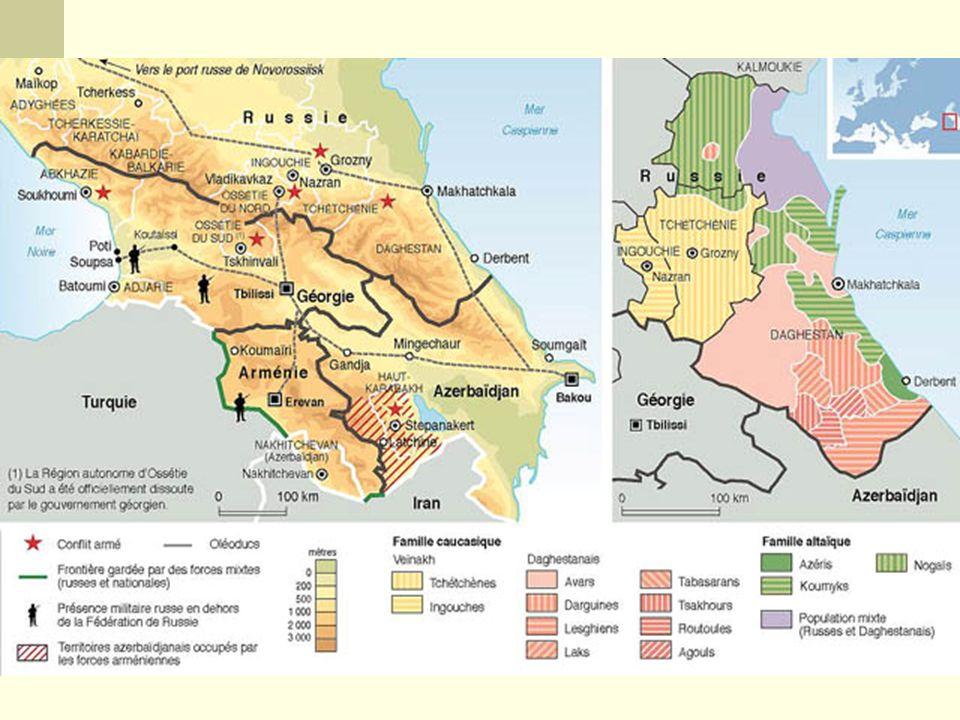 Armênia, Geórgia e Azerbaijão na porção sul do Cáucaso, na área denominada Transcaucásia. Enquanto que na porção norte do Cáucaso, denominada de Ciscaucásia encontram-se 8 repúblicas e regiões autônomas que permaneceram no seio Federação Russa..