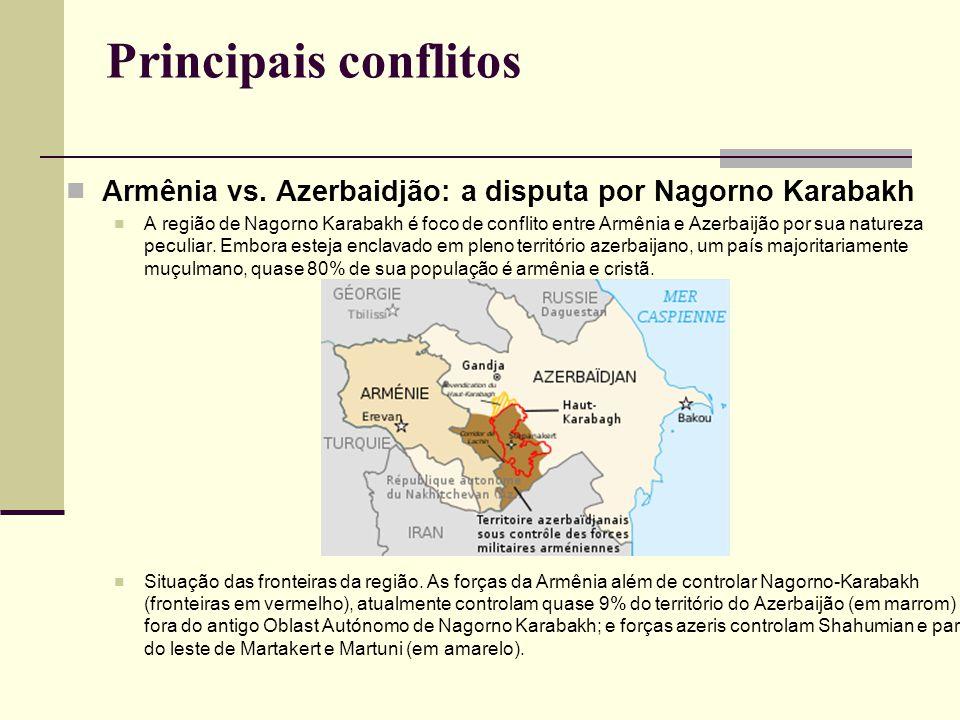Principais conflitos Armênia vs. Azerbaidjão: a disputa por Nagorno Karabakh.