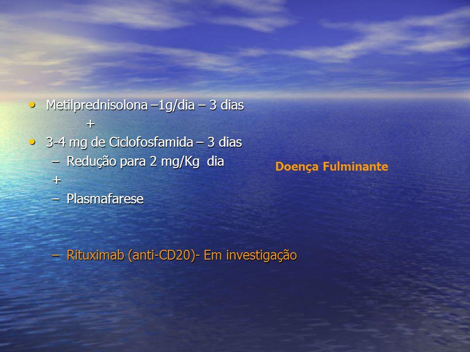Metilprednisolona –1g/dia – 3 dias + 3-4 mg de Ciclofosfamida – 3 dias