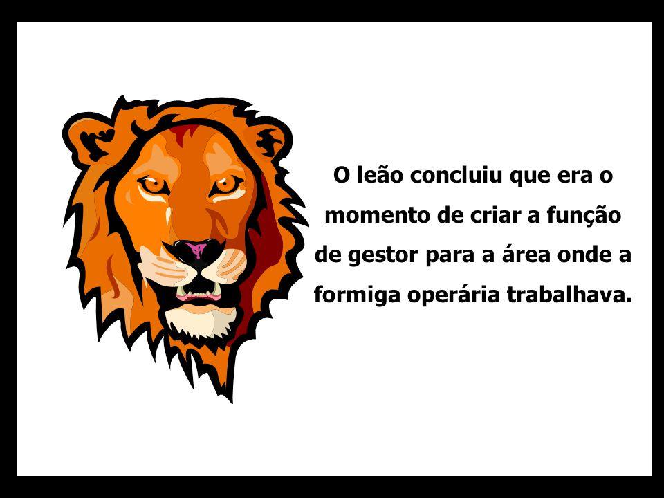 O leão concluiu que era o momento de criar a função de gestor para a área onde a formiga operária trabalhava.
