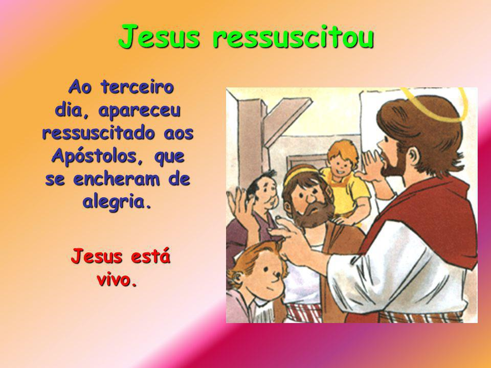 Jesus ressuscitou Ao terceiro dia, apareceu ressuscitado aos Apóstolos, que se encheram de alegria.