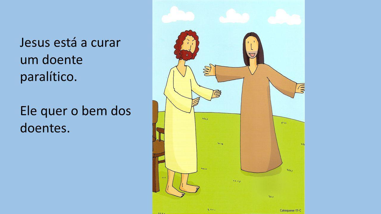 Jesus está a curar um doente paralítico.
