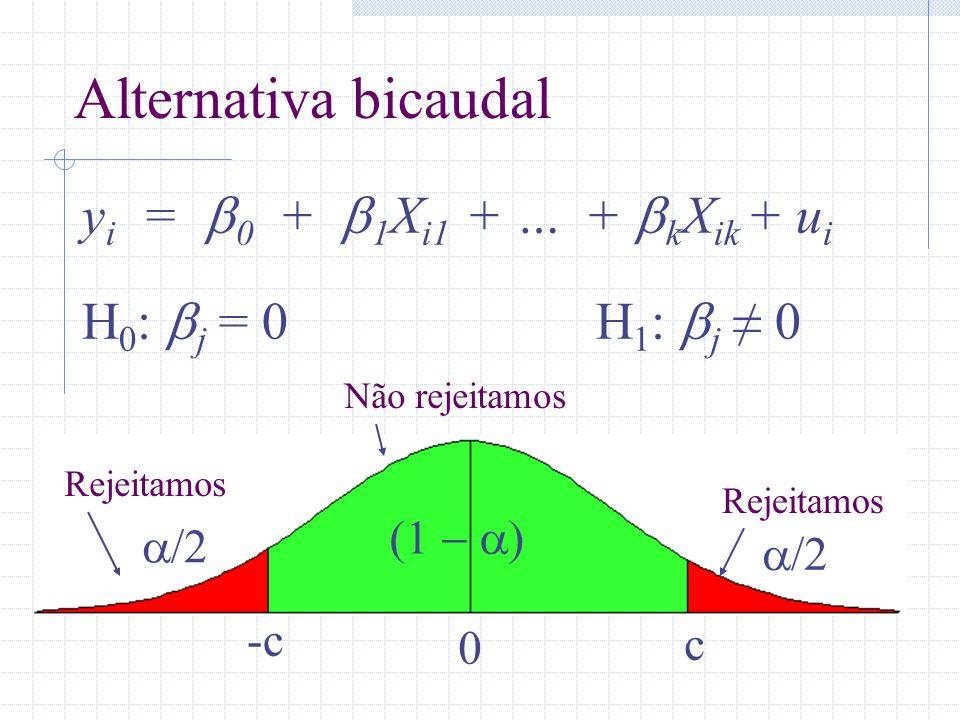 Alternativa bicaudal yi = b0 + b1Xi1 + … + bkXik + ui