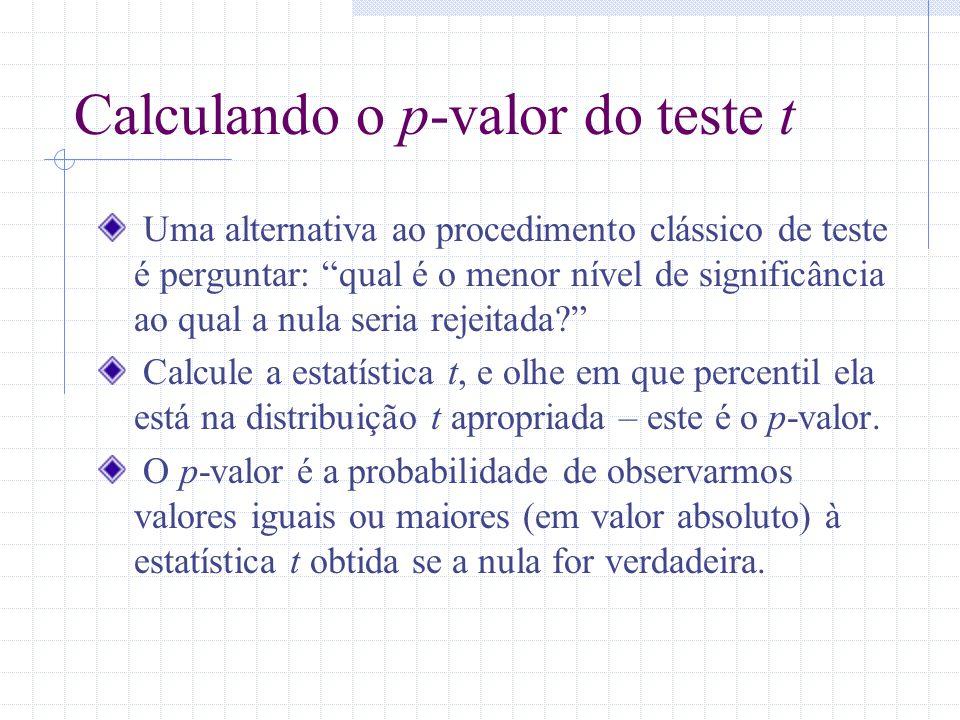 Calculando o p-valor do teste t