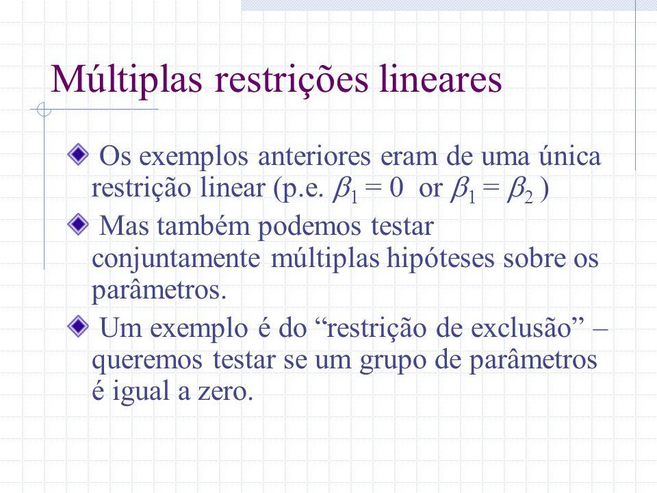 Múltiplas restrições lineares