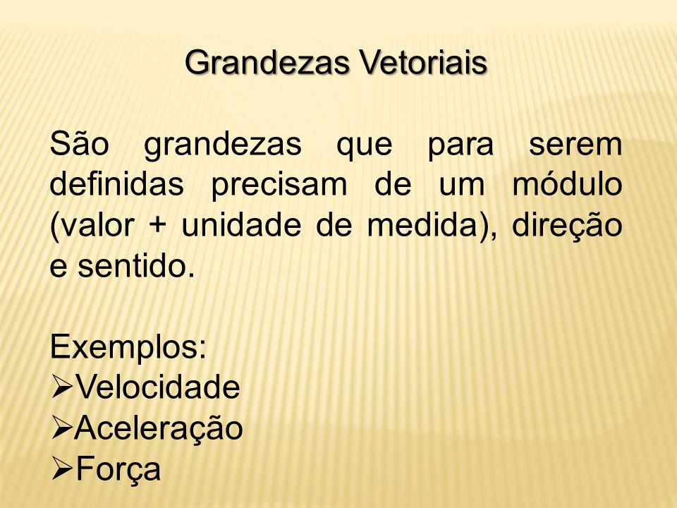 Grandezas Vetoriais São grandezas que para serem definidas precisam de um módulo (valor + unidade de medida), direção e sentido.