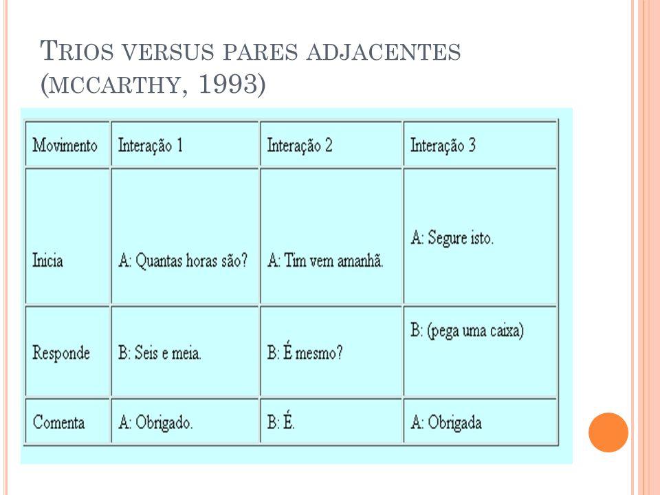 Trios versus pares adjacentes (mccarthy, 1993)