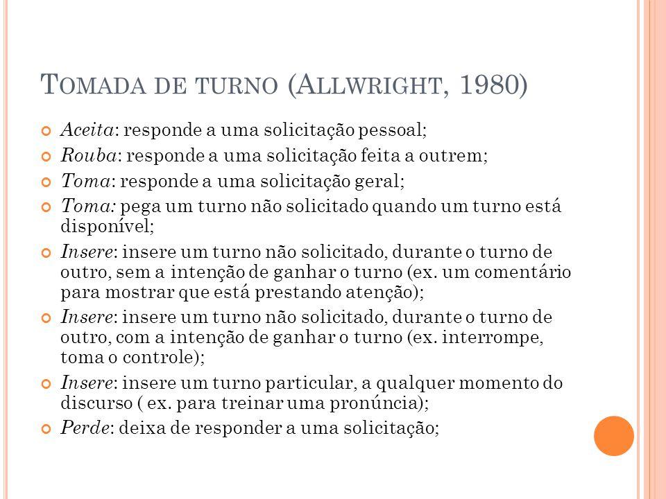 Tomada de turno (Allwright, 1980)