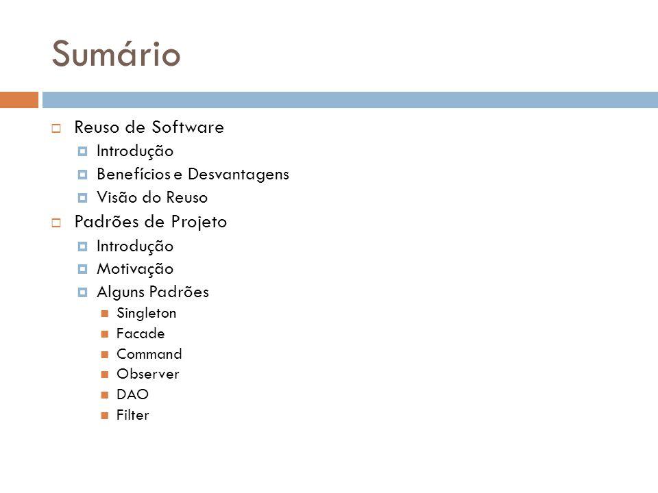 Sumário Reuso de Software Padrões de Projeto Introdução