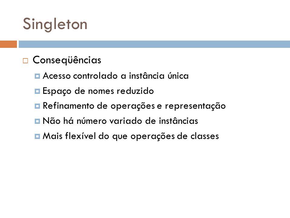Singleton Conseqüências Acesso controlado a instância única