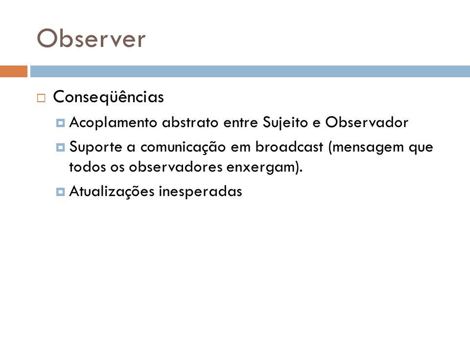 Observer Conseqüências Acoplamento abstrato entre Sujeito e Observador