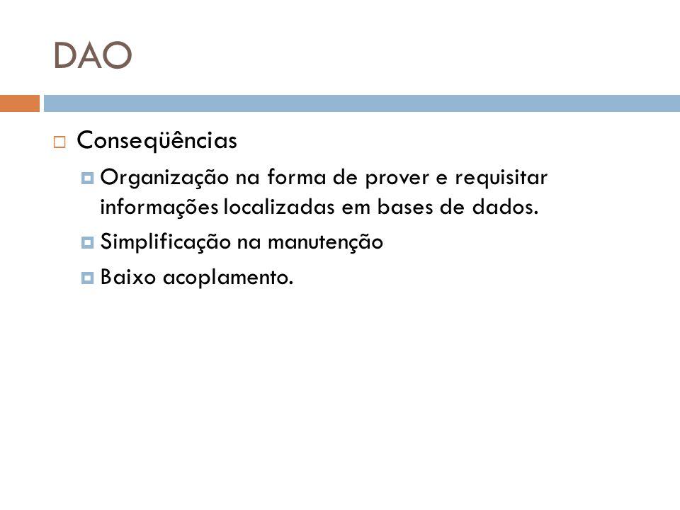 DAO Conseqüências. Organização na forma de prover e requisitar informações localizadas em bases de dados.