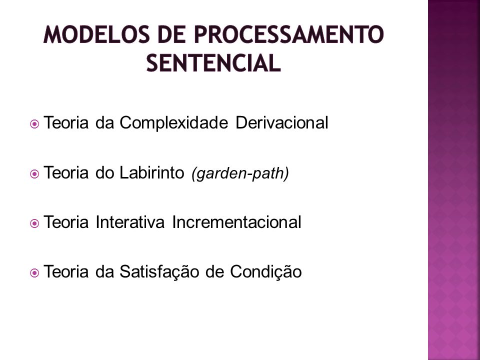 MODELOS DE PROCESSAMENTO SENTENCIAL