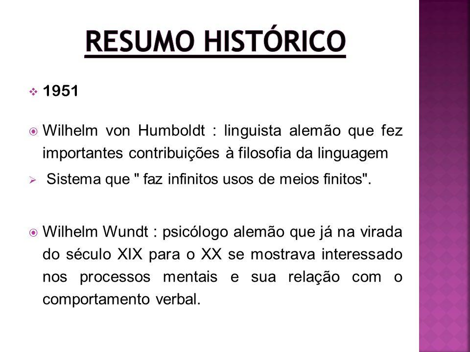 Resumo Histórico 1951. Wilhelm von Humboldt : linguista alemão que fez importantes contribuições à filosofia da linguagem.
