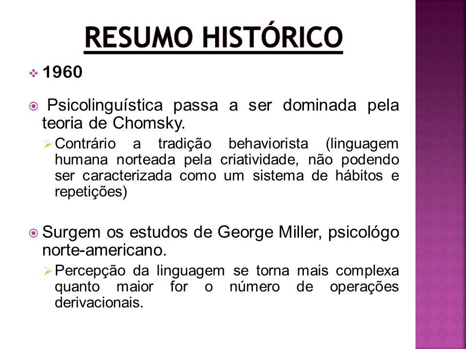 Resumo Histórico 1960. Psicolinguística passa a ser dominada pela teoria de Chomsky.