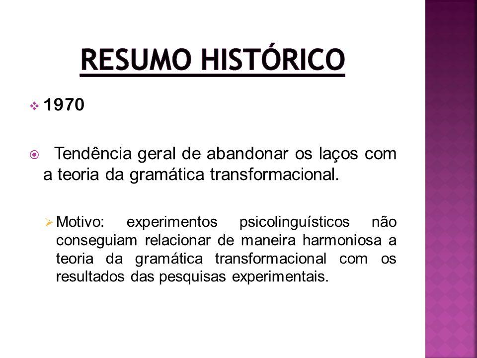 Resumo Histórico 1970. Tendência geral de abandonar os laços com a teoria da gramática transformacional.