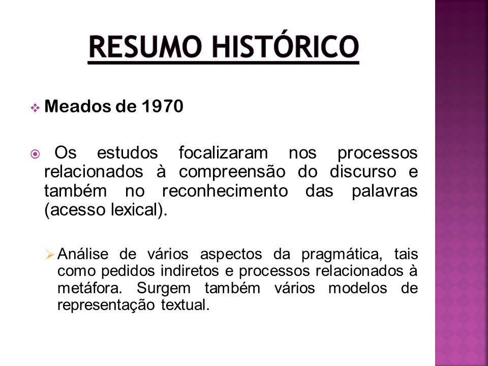 Resumo Histórico Meados de 1970