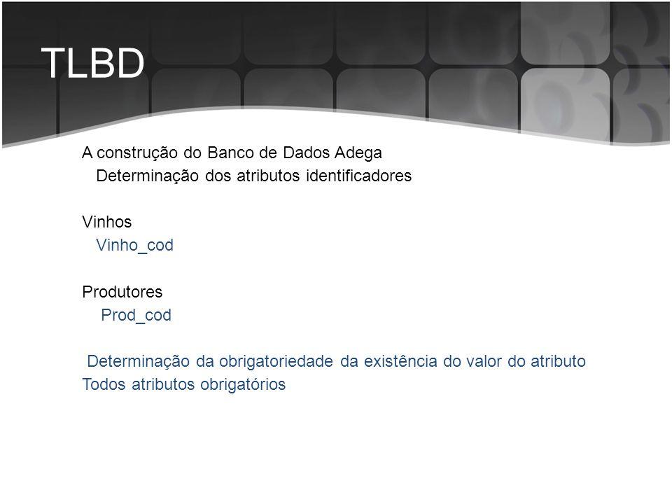 TLBD A construção do Banco de Dados Adega