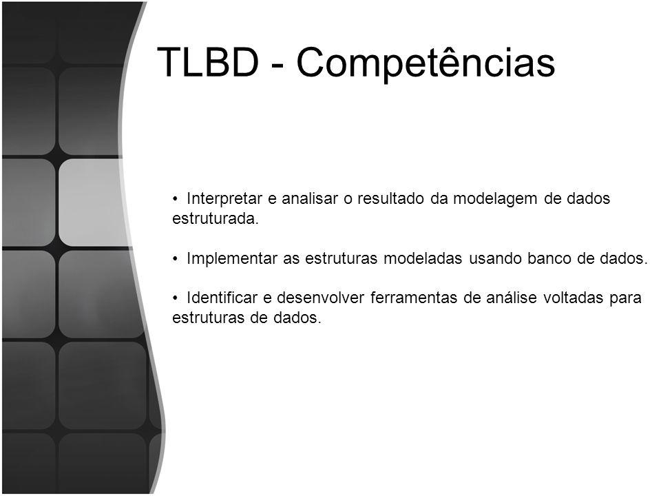 TLBD - Competências Interpretar e analisar o resultado da modelagem de dados estruturada. Implementar as estruturas modeladas usando banco de dados.
