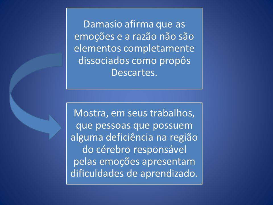 Damasio afirma que as emoções e a razão não são elementos completamente dissociados como propôs Descartes.