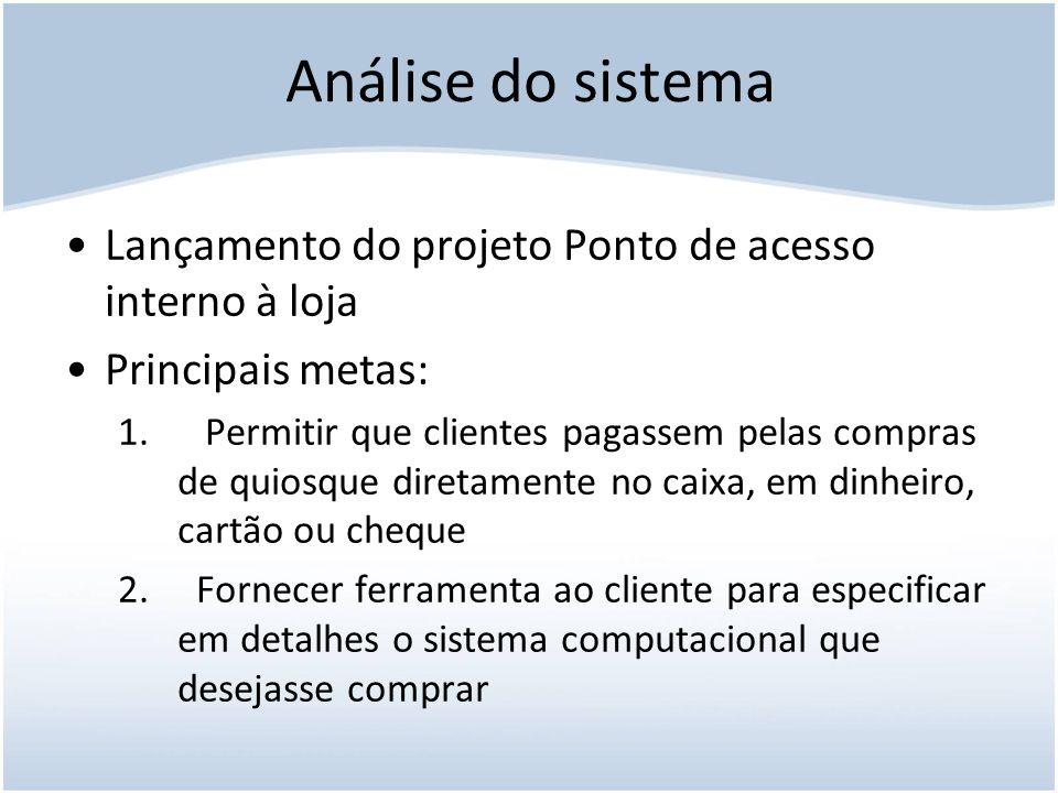 Análise do sistema Lançamento do projeto Ponto de acesso interno à loja. Principais metas: