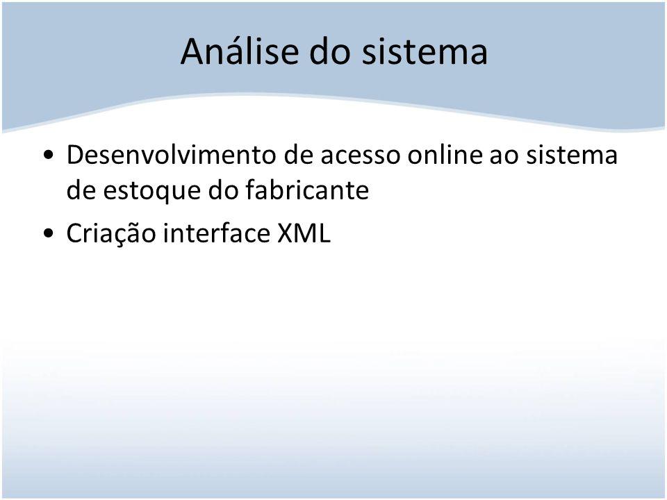 Análise do sistema Desenvolvimento de acesso online ao sistema de estoque do fabricante.
