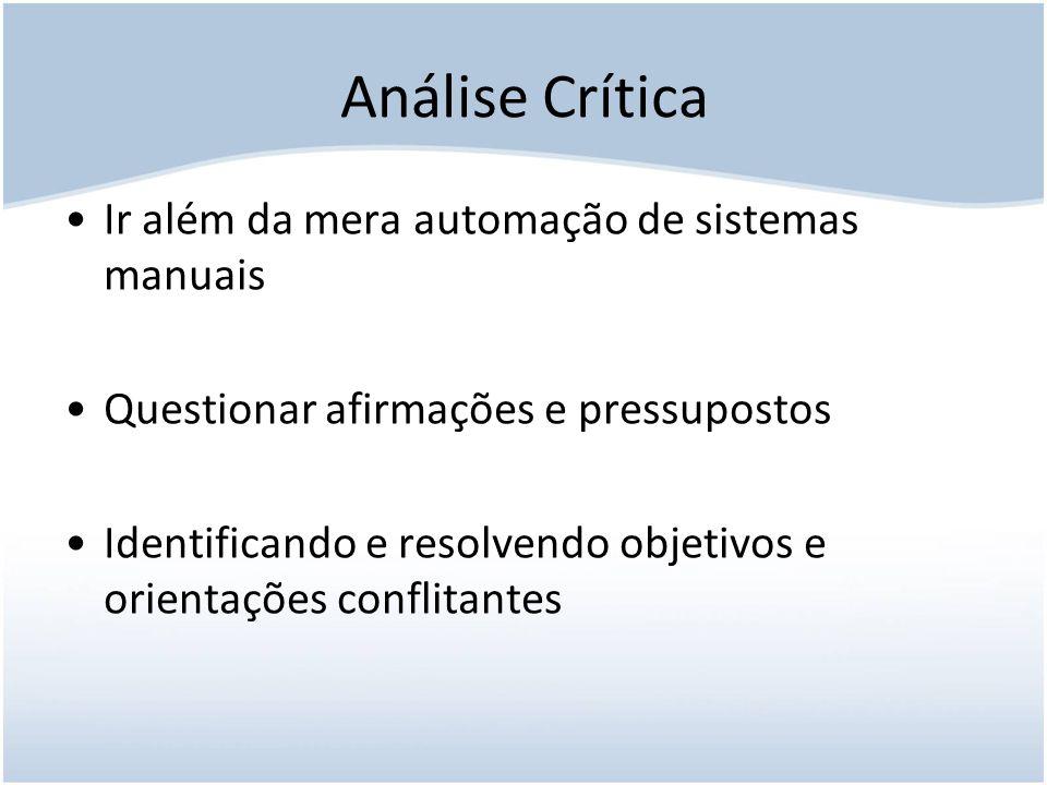 Análise Crítica Ir além da mera automação de sistemas manuais