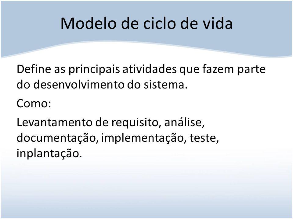 Modelo de ciclo de vida Define as principais atividades que fazem parte do desenvolvimento do sistema.