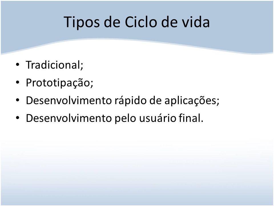 Tipos de Ciclo de vida Tradicional; Prototipação;