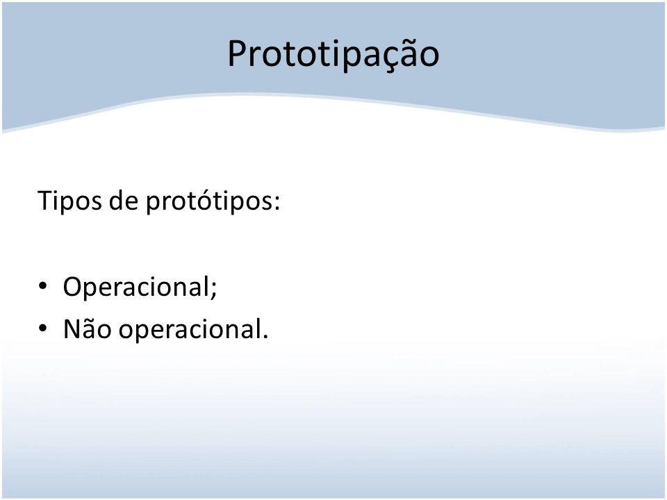 Prototipação Tipos de protótipos: Operacional; Não operacional.