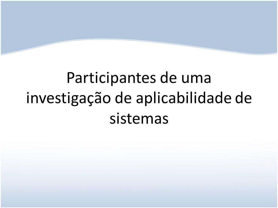 Participantes de uma investigação de aplicabilidade de sistemas