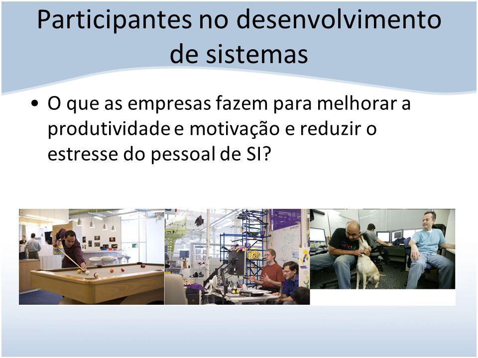 Participantes no desenvolvimento de sistemas