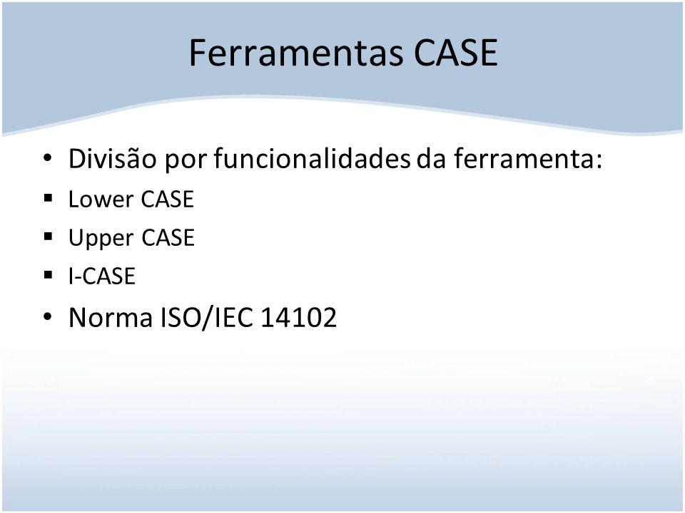 Ferramentas CASE Divisão por funcionalidades da ferramenta: