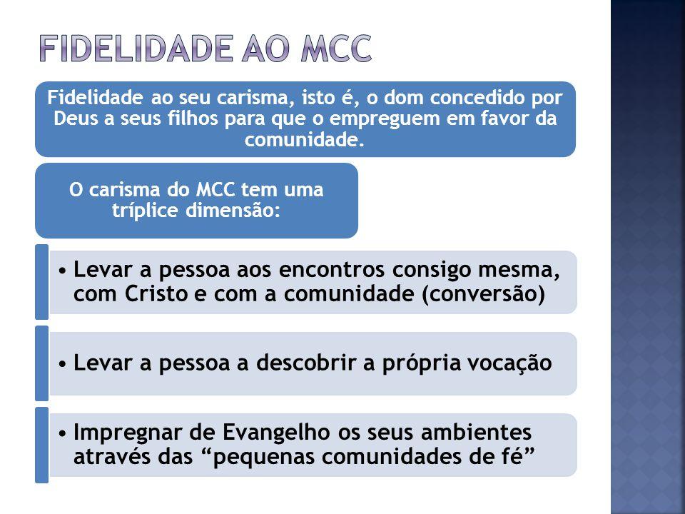O carisma do MCC tem uma tríplice dimensão: