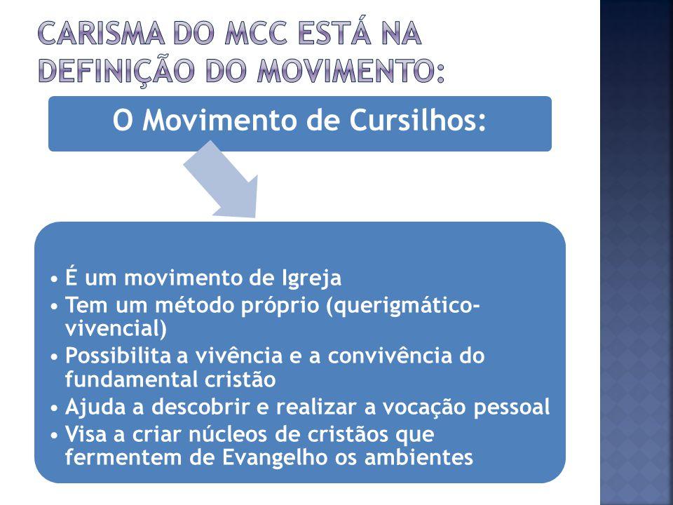 CARISMA DO MCC ESTÁ NA DEFINIÇÃO DO MOVIMENTO: