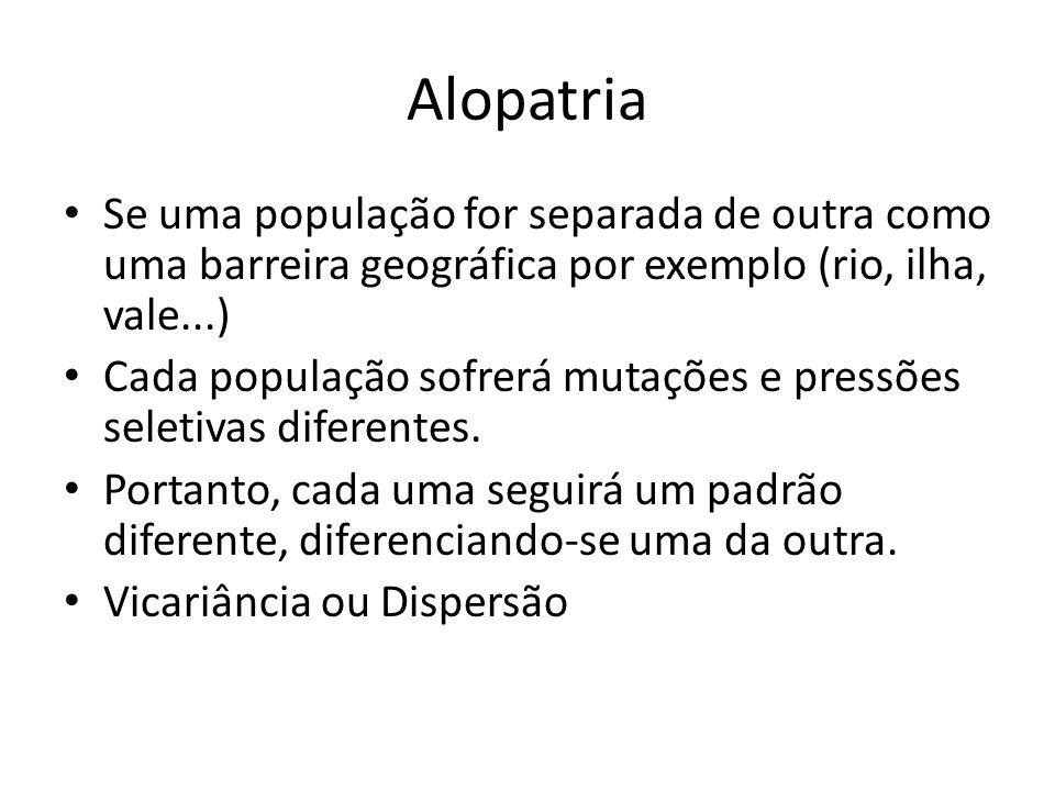 Alopatria Se uma população for separada de outra como uma barreira geográfica por exemplo (rio, ilha, vale...)