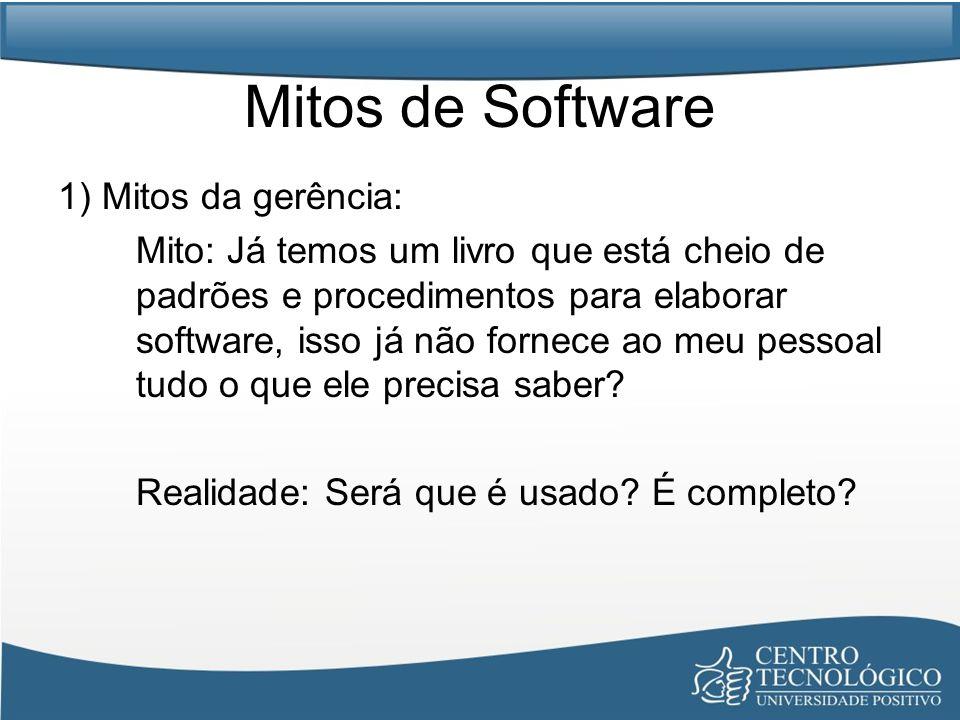 Mitos de Software 1) Mitos da gerência: