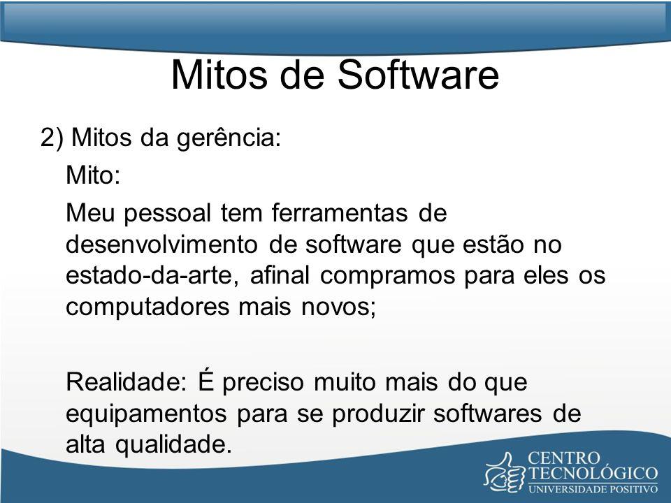 Mitos de Software 2) Mitos da gerência: Mito:
