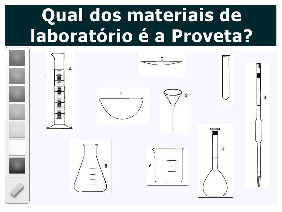 Qual dos materiais de laboratório é a Proveta