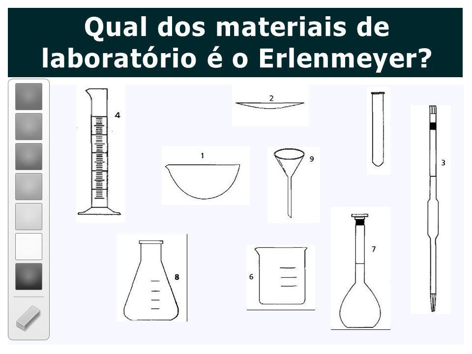 Qual dos materiais de laboratório é o Erlenmeyer