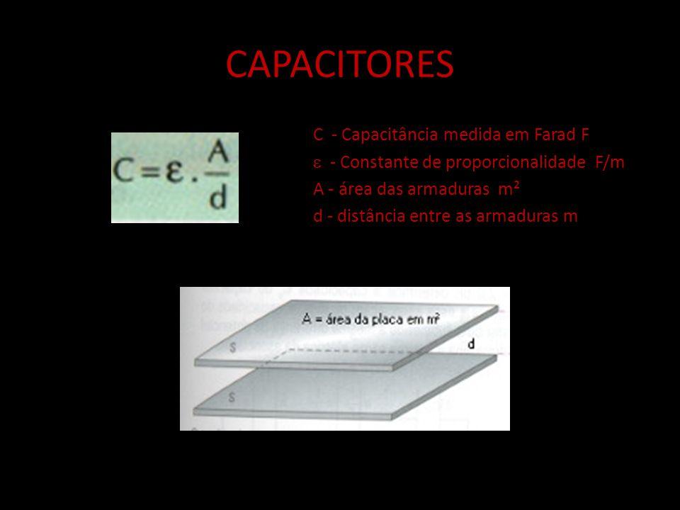 CAPACITORES C - Capacitância medida em Farad F
